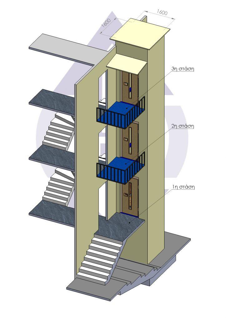 Φωτορεαλιστικός σχεδιασμός εξωτερικού ασανσέρ Alco Lift